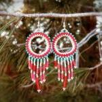Gypsy chic earrings. Beadwoven Frin..