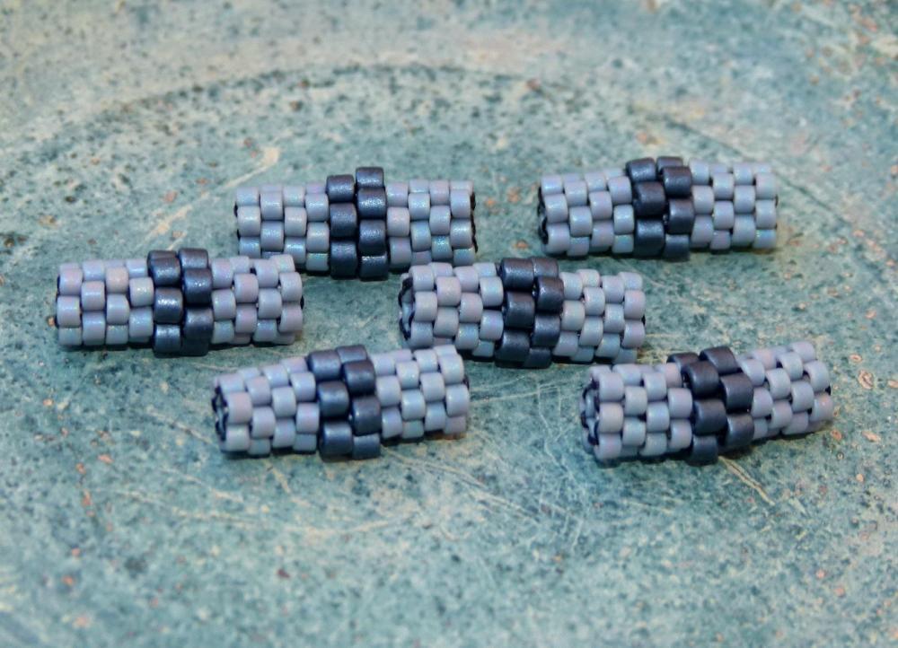 Rainy Mood Beaded beads. Grey Black Handmade tube (6) Jewelry Making Supplies