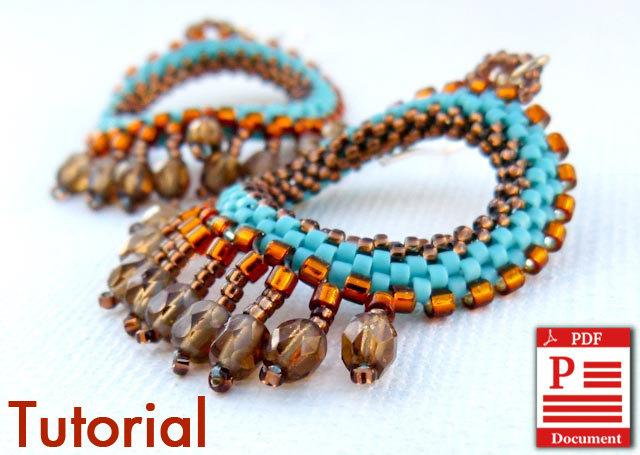 DIY Pattern Beading tutorial Native American Style earrings PDF file