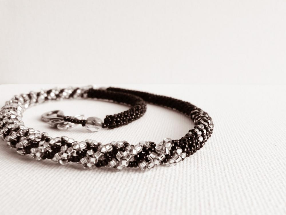 Night. Luxuries Black Silver asymmetric bead woven necklace. Ready to ship