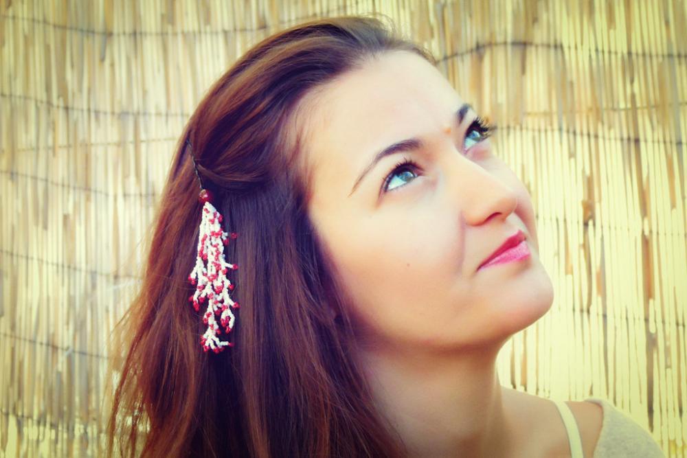 Sakura Cherry Blossom hair clip. Beaded Bridal hair falls accessories. Springtime. tbteam