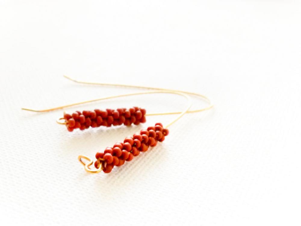 Terracotta long dangle earrings. Minimalist fashion brownish orange beaded beads jewelry. gift idea tbteam