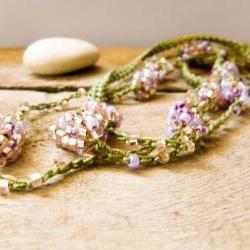 Spring fashion Honeysuckle green pink crochet beaded strand. Versatile necklace / wrap bracelet / anklet / headband/ belt.