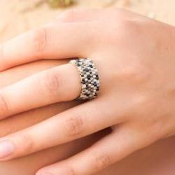Metallic mix. Holiday jewelry Beaded Custom Ring.