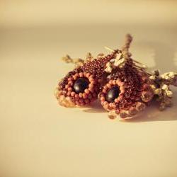 Autumn Woodland bead woven dangle earrings. Unique New Design. Orange Black Topaz .