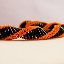 Statement Black Orange spiral choker style necklace . Fashion jewelry