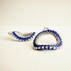 Sapphire blue original dangle earrings. Winter office fashion jewelry