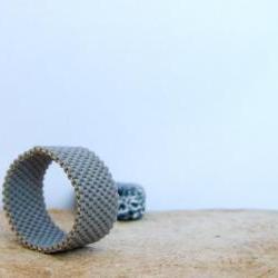 Unisex minimalist custom ring. Bead woven band. Gift idea under 25
