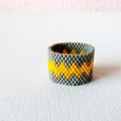 Modern geometric chevron Custom band ring Grey yellow zig zag Beaded fashion jewelry under 25