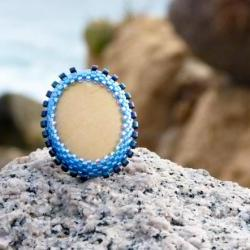 Unique Natural Stone cocktail ring. Nautical OOAK tbteam spteam stylistteam