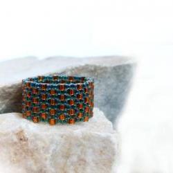 Cedar textured band ring Beaded custom band Green holiday gift idea under 25 tbteam