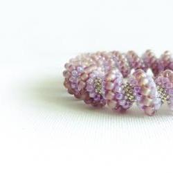 Honeysuckle Bridal beaded bangle bracelet. Rustic wedding Light purple silver