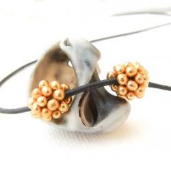 Golden pine-cones. Beaded beads (2) small round Jewelry making supplies Holiday season