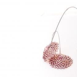 Whisper. Honeysuckle Romantic beadwoven earrings. Rustic wedding, tbteam. Spring fashion jewelry