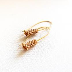 Chic minimalist fashion golden long earrings. Wedding jewelry. Bridesmade gift idea.