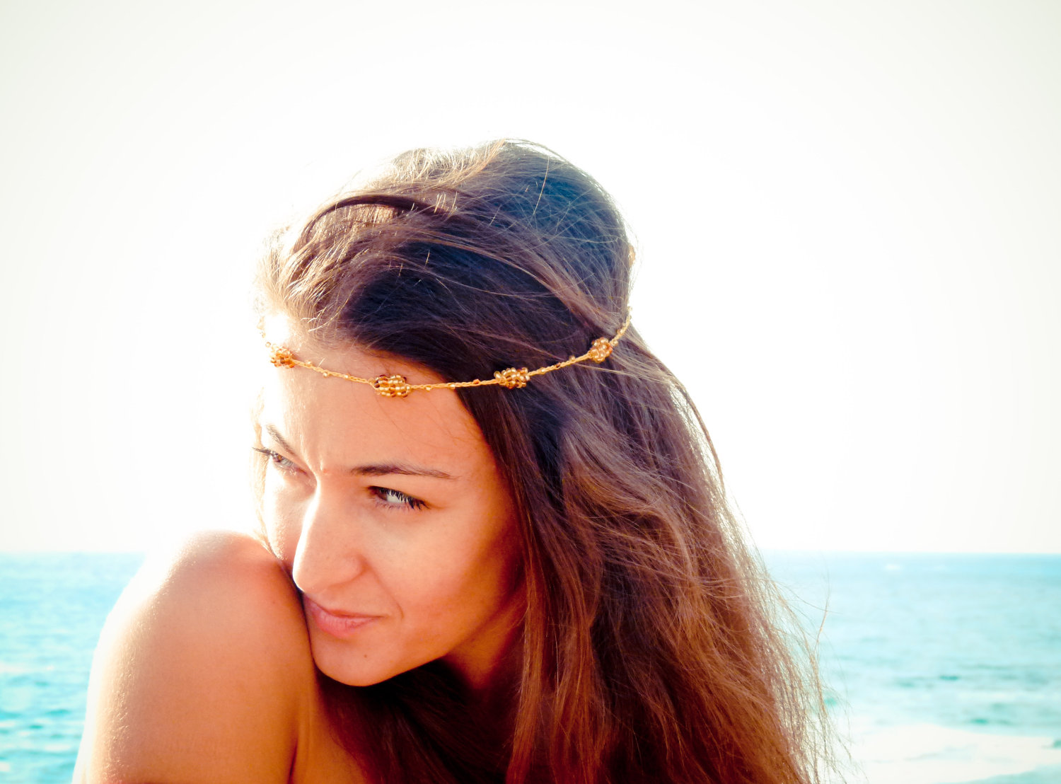 Boho Chic Mustard Gold Brown Beaded Crochet Headband Strand. Versatile  Necklace   Bracelet   Anklet on Luulla 6364af60101